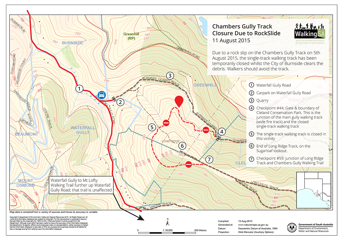 Map of Chambers Gully Rockslide, Burnside Track trail closure, 13 August 2015
