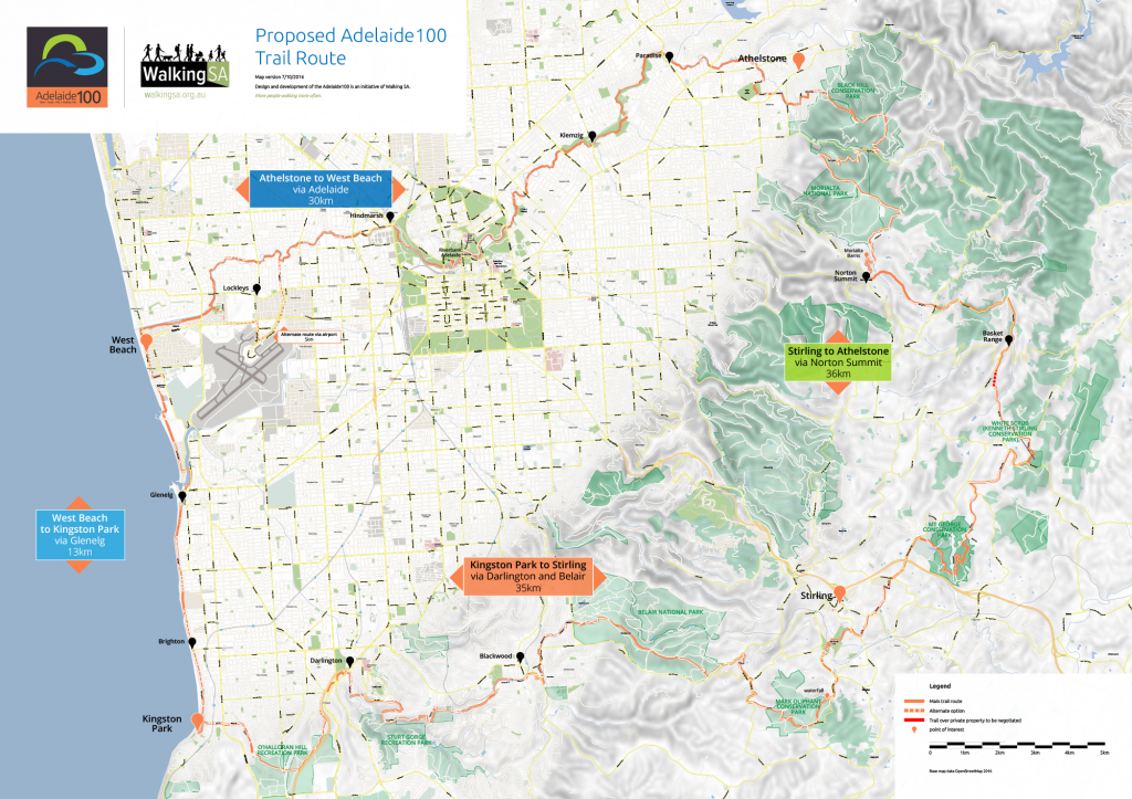 Map of the proposed Adelaide100 trail route