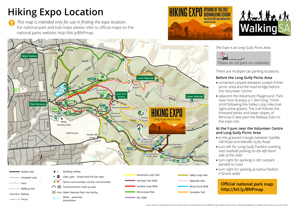 Location Map for Car Parking, Hiking Expo, April 23rd 2017