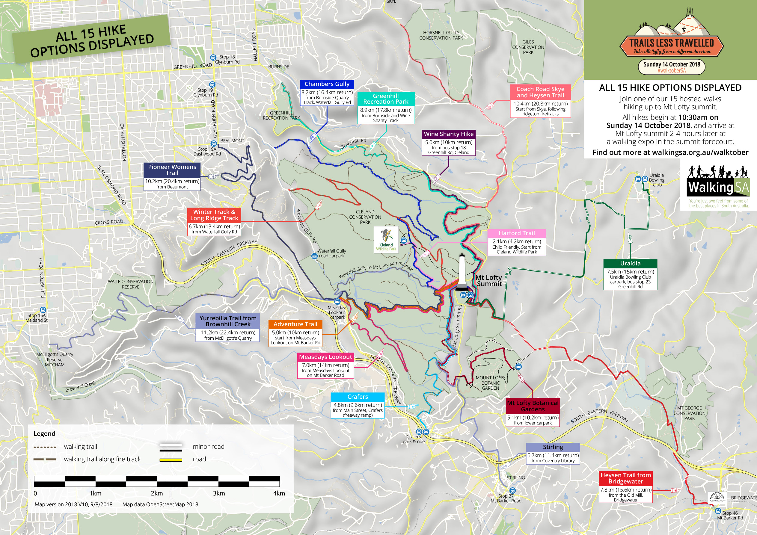 Map of all Trails Less Travelled Hike Options