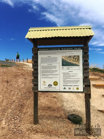 Minor trailhead sign of the Hallett Cove Boardwalk (Marion Coastal Walking Trail)