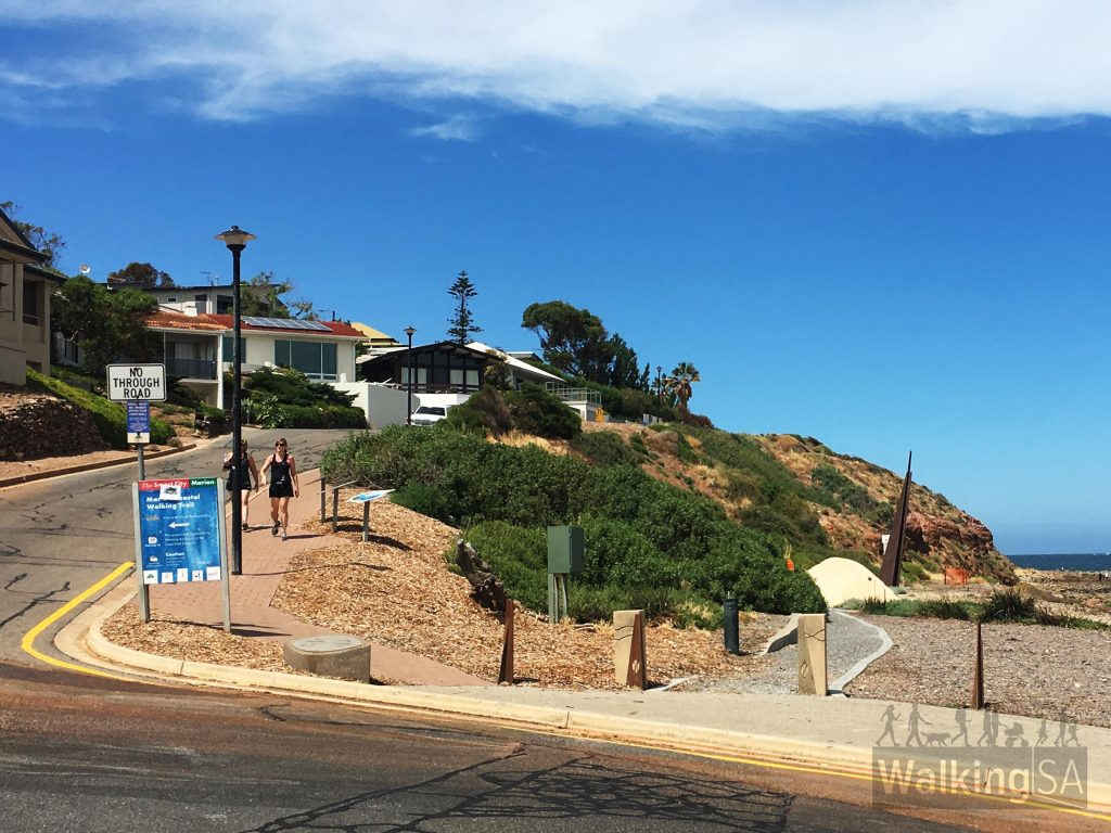 Northern trailhead of the Hallett Cove Boardwalk (Marion Coastal Walking Trail) on Burnham Road (Marino Esplanade), Marino Rocks