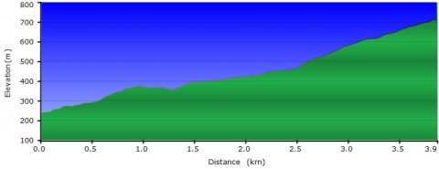Elevation profile of climb on Waterfall Gully to Mt Lofty hike