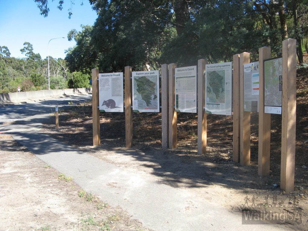 Trailhead in Main Street, Crafers, next to freeway exit roundabout