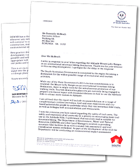 Response to letter, from Ian Hunter, Government of South Australia, re International Mountain Biking Destination, Adelaide Hills, Adelaide Mount Lofty Ranges - balance of walking and mountain biking trail users