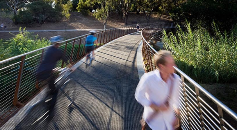 Crossing the River Torrens, near the zoo