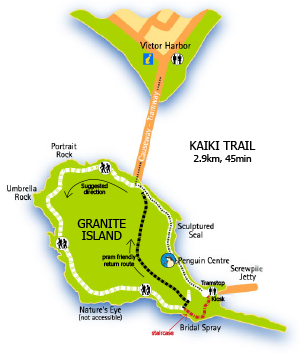 Kaiki Trail walk map, Granite Island map