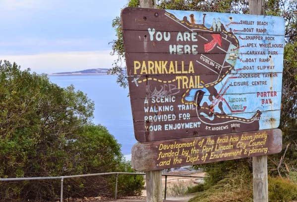 Old sign for Parnkalla Trail