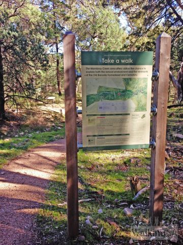 Trailhead signage & gravel 1-metre wide path, Wirra Wirra Loop