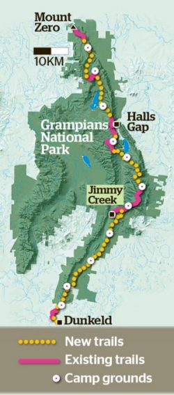 Map of day 144km Grampians Peaks Trail