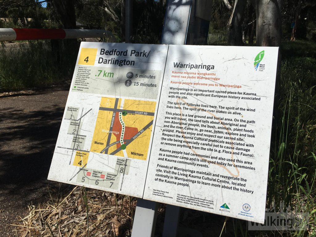 One of the interpretive signs in Warriparinga Wetlands. Warriparinga is an important sacred place for the Kaurna people. The spirit of Tjilbruke lives here. The spirit of the wind lives here. The spirit of the river makes us alive. Warriparinga is a law ground and burial area. The Kaura people has always used the area for ceremonies.