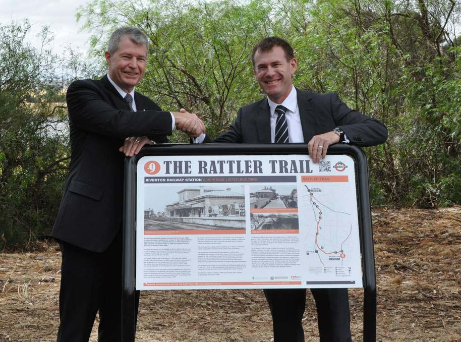 Senator David Fawcett and Member for Wakefield, Nick Champion unveiled one of nine interpretive signs as part of the Rattler Trail opening