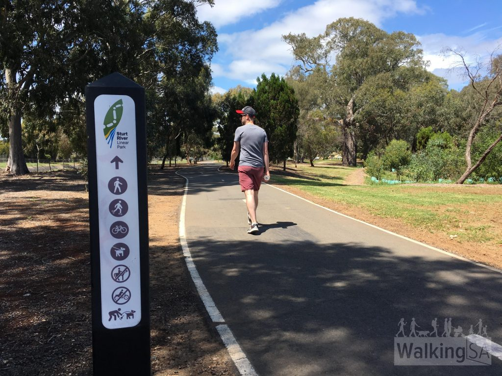 The Sturt River Linear Park is suitable for walking, roller skating, cycling, dogs, wheelchairs and prams