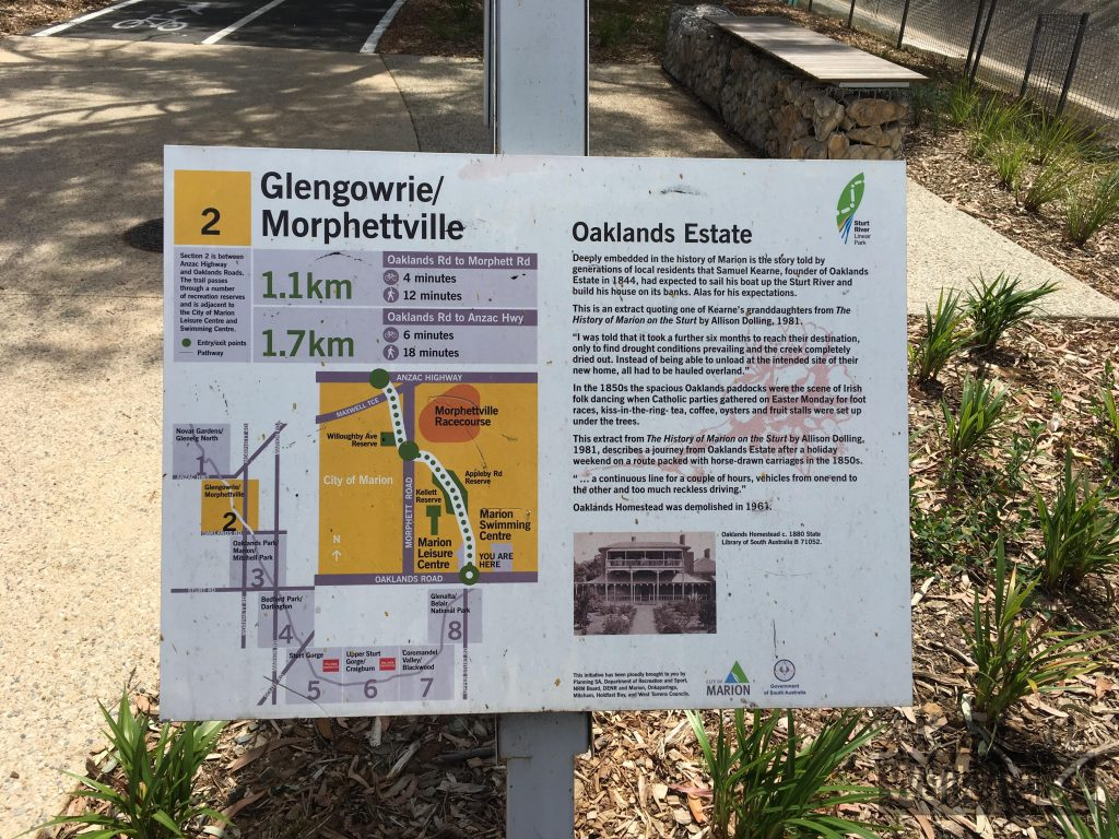 This sign tells the story of Oaklands Estate founder, Samuel Kearne, who is 1844 arrived in South Australia expecting to sail his boat up the Sturt River to his new estate