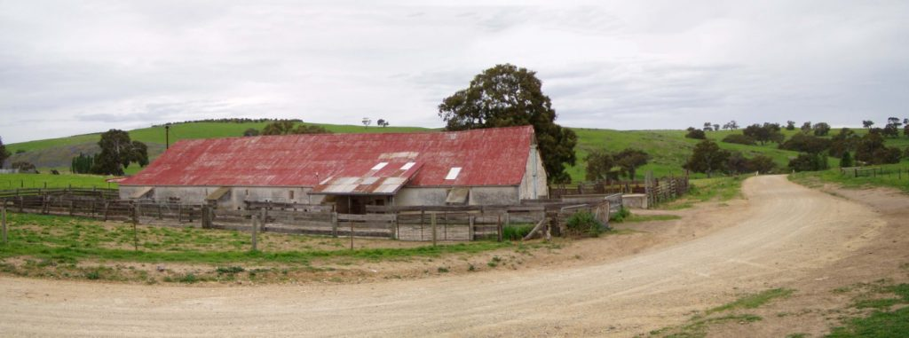 Bakers Run (formerly Terlinga) Shearing Shed, Tungkillo. Originally built in 1841, it was rebuilt after a fire in 1869 and still in use