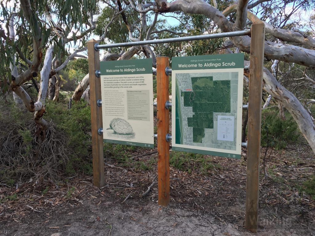 Coral Lichen Circuit trailhead signage at Gate 14, cnr Fraser Street and Dover Street, Aldinga