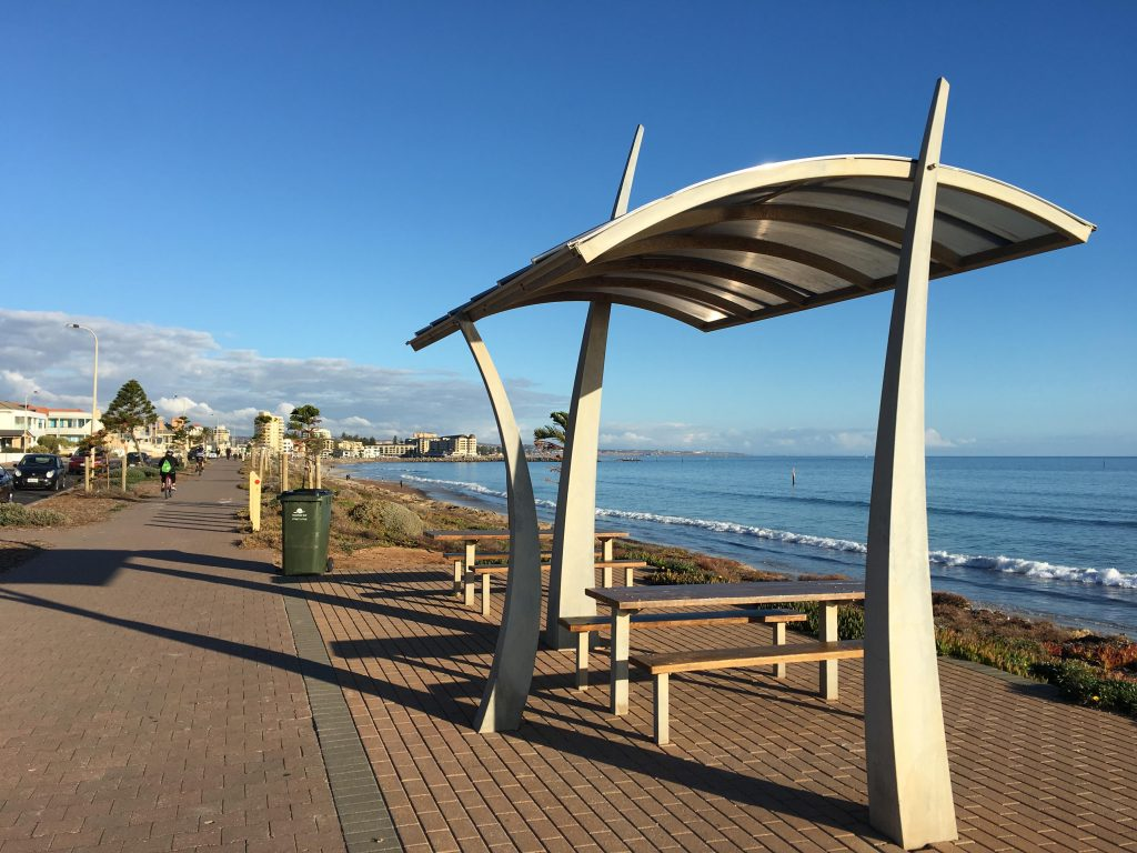 A picnic area on the Coast Park Path at West Beach, heading to Glenelg