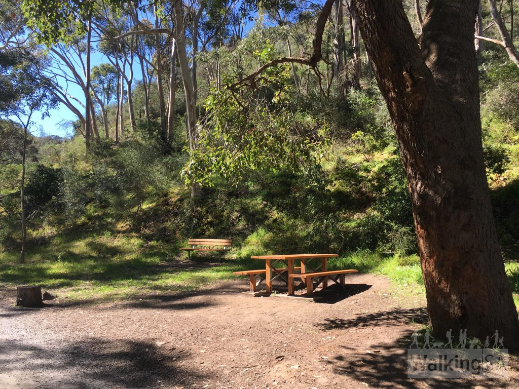 A picnic table area half way along the Morialta Falls Valley Walk