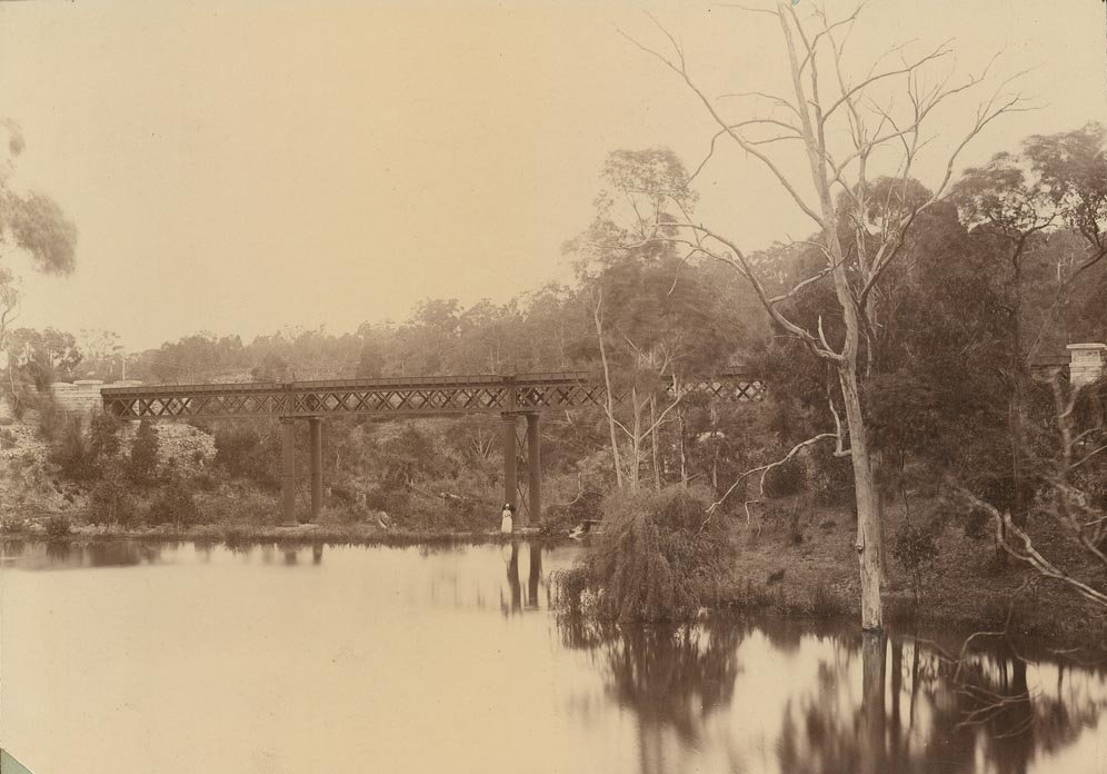 The original railway bridge over Cox's Creek, 1885, State Library of South Australia B11703