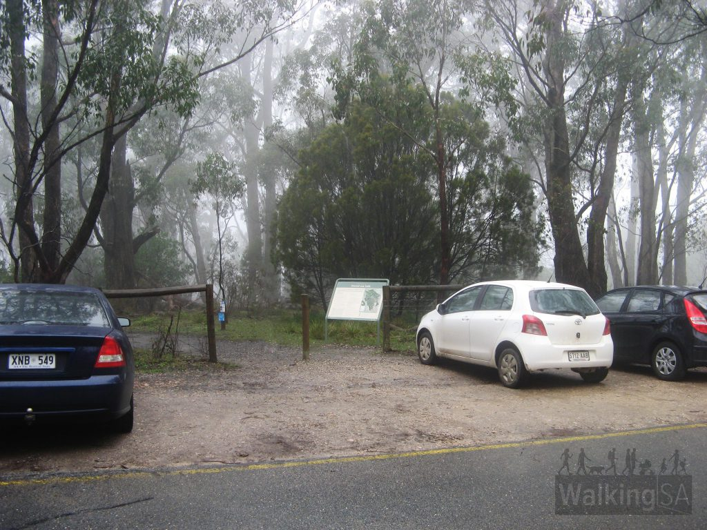 Carpark immediately inside Mount Lofty Summit gate
