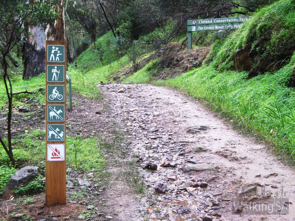 Entrance to Cleland Conservation Park in Chambers Gully