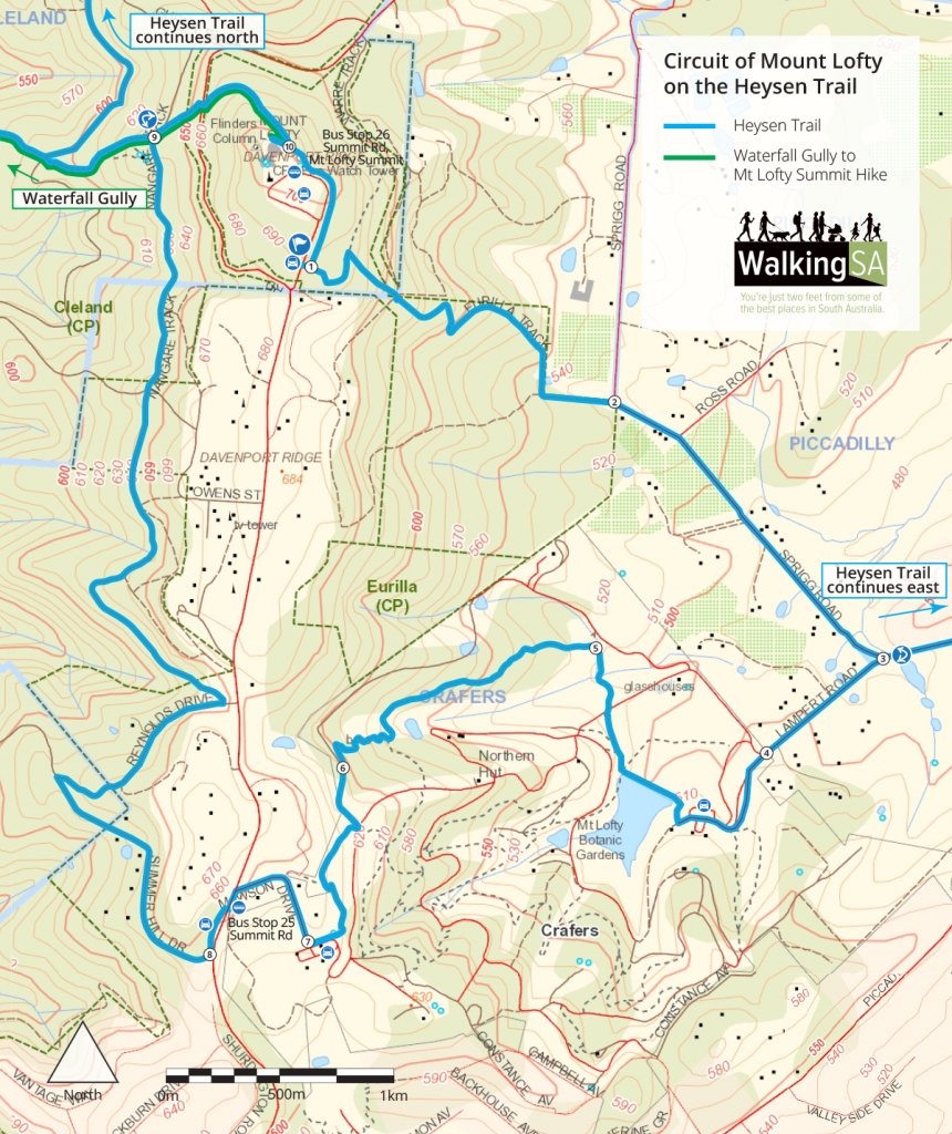 Walking map: Heysen Trail Mt Lofty circuit