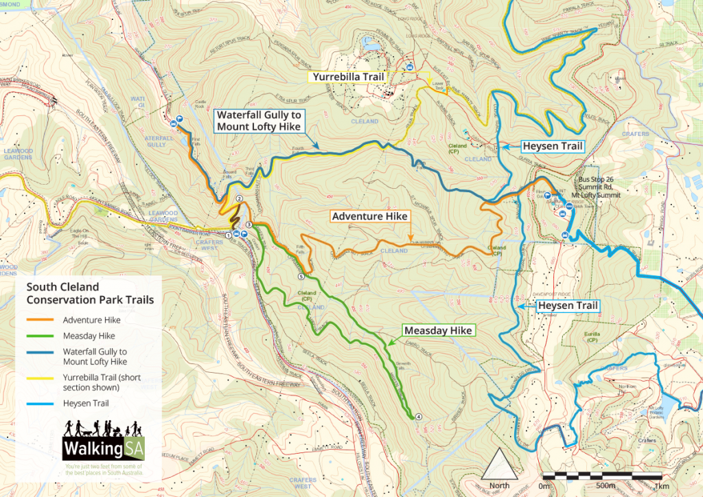 Map of Measday Hike through south Cleland Conservation Park