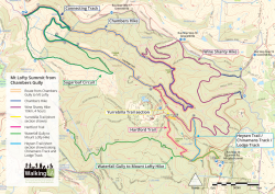 Walking map: Mt Lofty Summit from Chambers Gully, Cleland Conservation Park