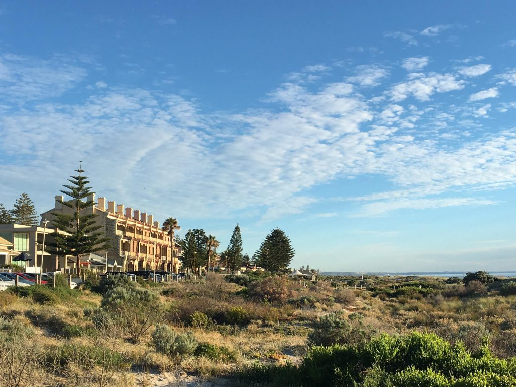 The Coast Park Path passes historic houses and modern houses along Adelaide's beach esplanades