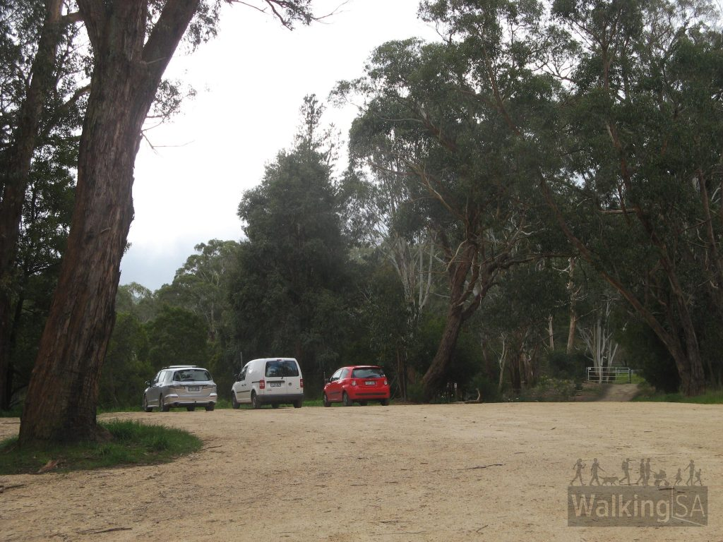 The carpark at Deanery Reserve, location of the Fairy Garden, on the Heysen Trail near Bridgewater