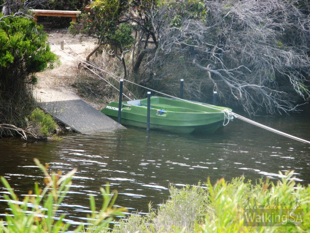 This boat is used by guests on the Kangaroo Island Wilderness Trail to cross the South West River