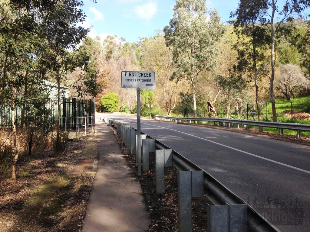 Walking trail following Waterfall Gully Road