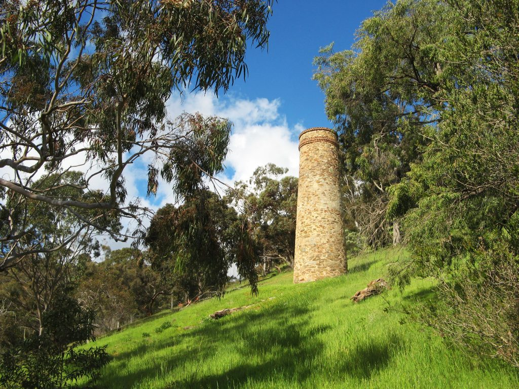 Old mining chimney on Toll Gate Circuit hike