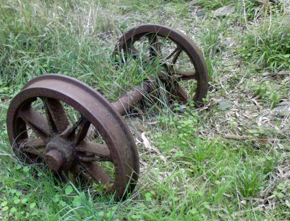 Old railway wheels near the viaduct