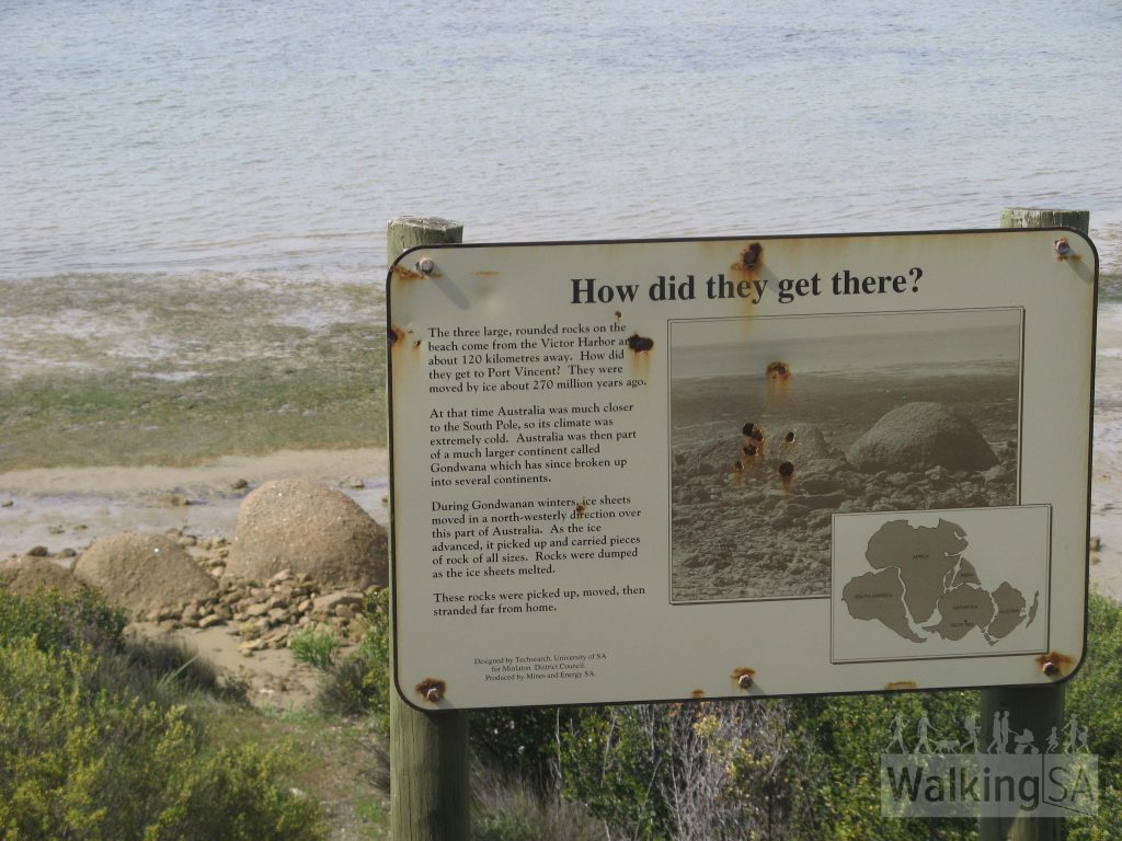 The granite rocks here come from Victor Harbor 270m years ago