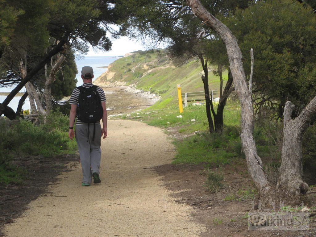 Walking through the golf course