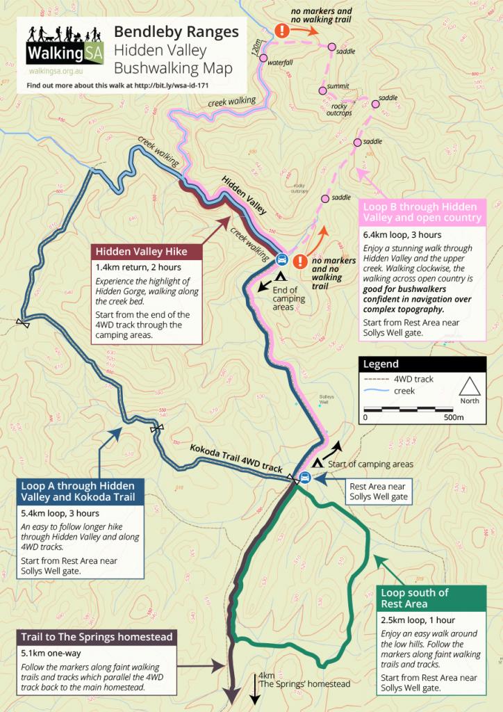 4wd Map Of Australia.Bendleby Ranges Map Of Bushwalking Trails Four Hikes