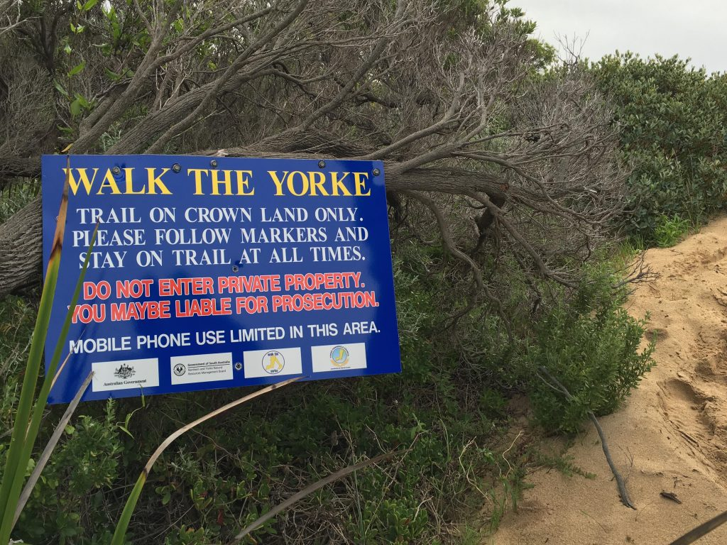 Reminder to stay on the walking trail between Meehans Lookout and Kangaroo Island Lookout, through Hillocks Drive and other properties
