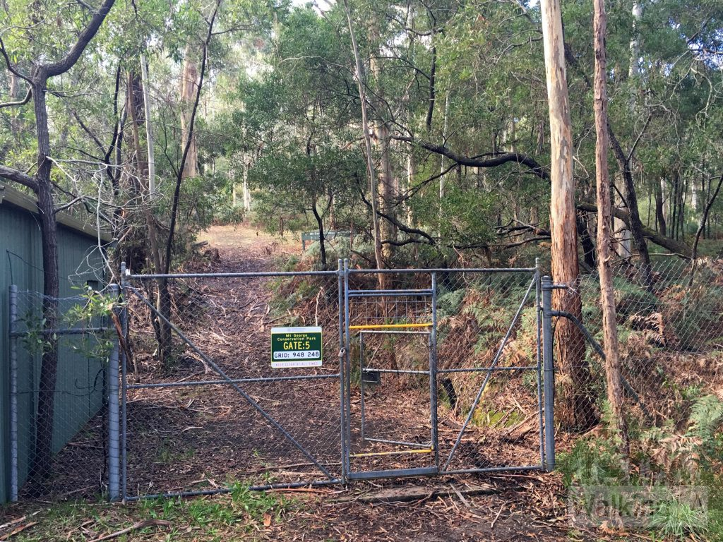 1 on map: Starting the walk at Gate 5, next to the shed behind the trees opposite the main picnic area in Mt George Conservation Park. The gate looks locked, but it isn't, you can walk through the personal access gate.