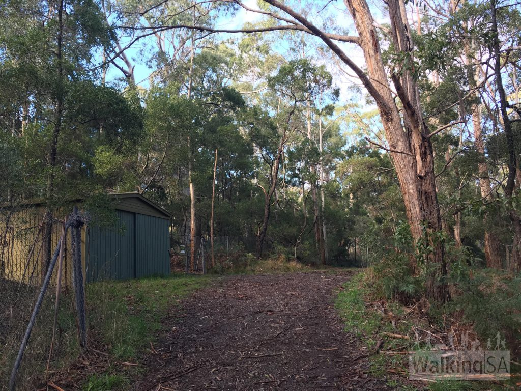 The gate is here next to the shed, hidden behind some trees opposite the main picnic area