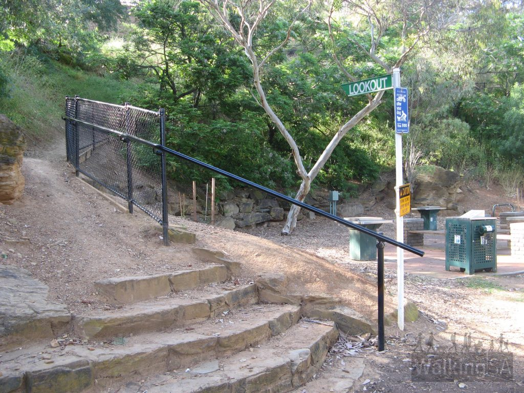Hike up the steps to the Lookout from Langman Woodland picnic area