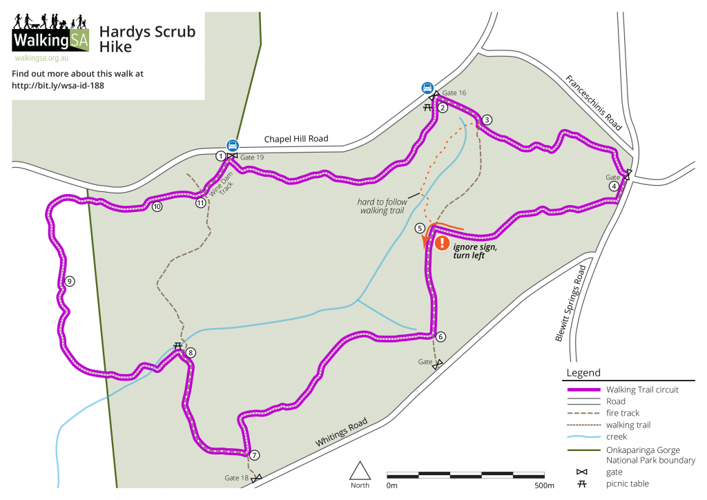 Map of Hardys Scrub Hike, Onkaparinga Gorge National Park