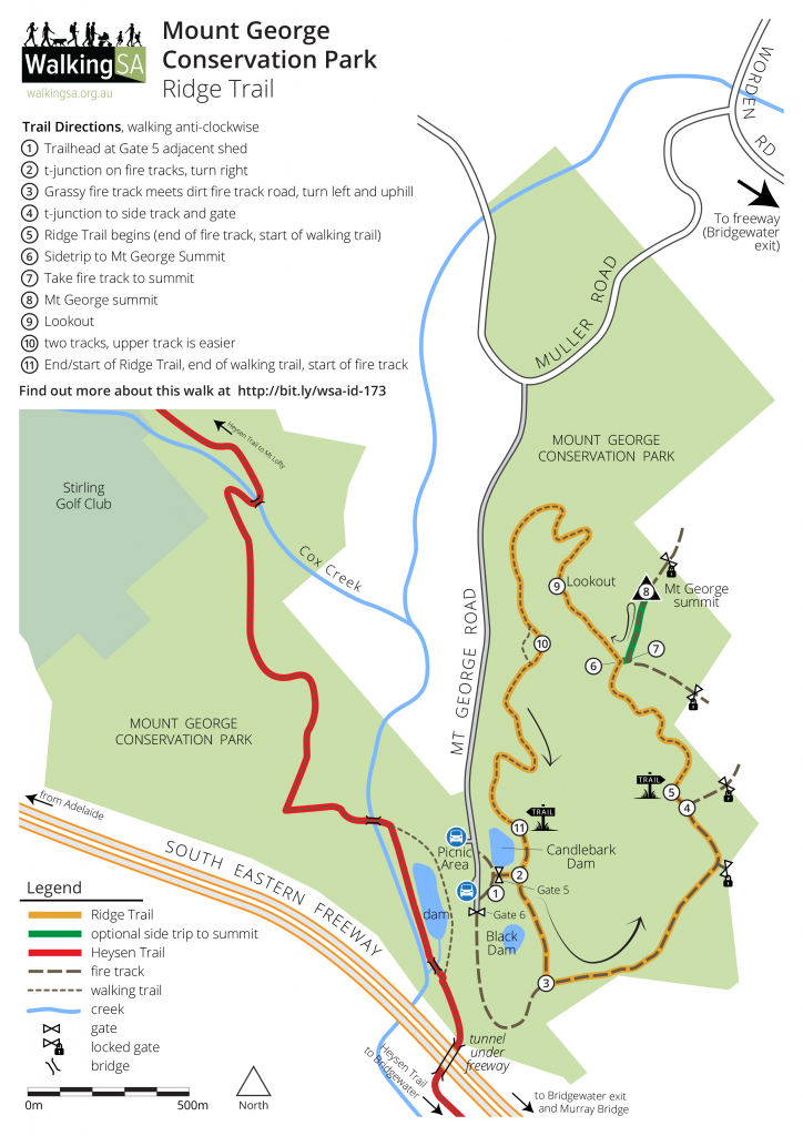 Map of Ridge walking Trail, Mount George Conservation Park, bushwalking loop track