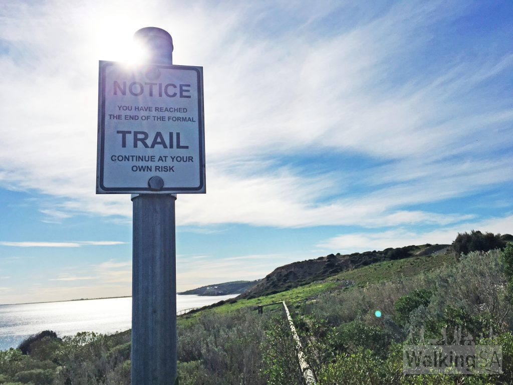 The Kauwi Interpretive Walking Trail ends abruptly, but you can continue walking along the rough foot track over to Hallett Cove