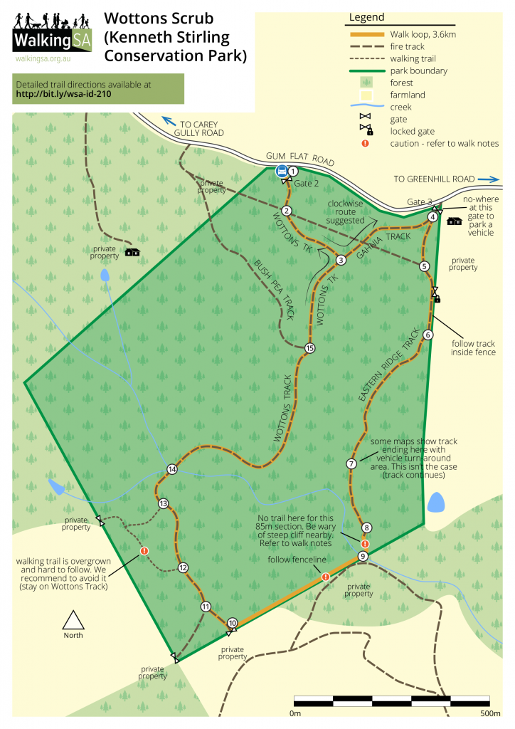 Hiking map of Wottons Scrub (Kenneth Stirling Conservation Park)