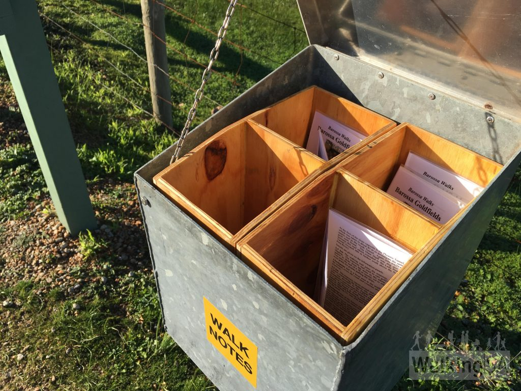 """There are detailed notes about the walks in the northern section of Para Wirra available from the box at the trailhead on Allendale Road. They are provided by the <a href=""""https://www.walkingtrailssupportgroup.org.au/"""">Walking Trails Support Group</a>. They are laminated, please return them to the box."""