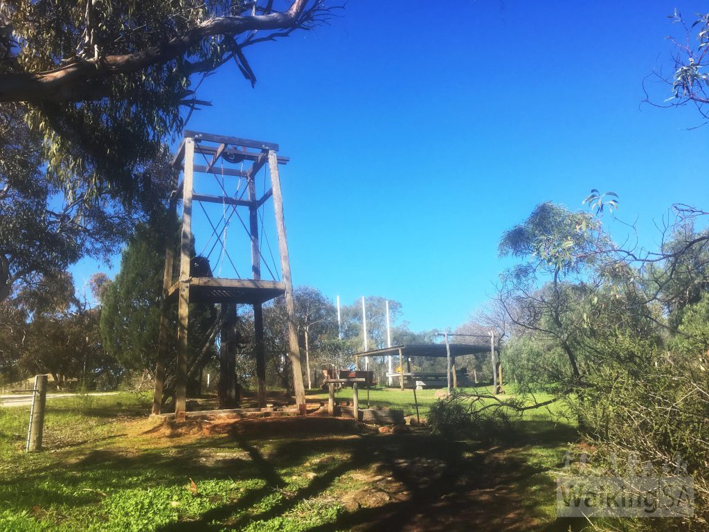 Picnic area, toilets and old mining equipment at Bowden Cottage