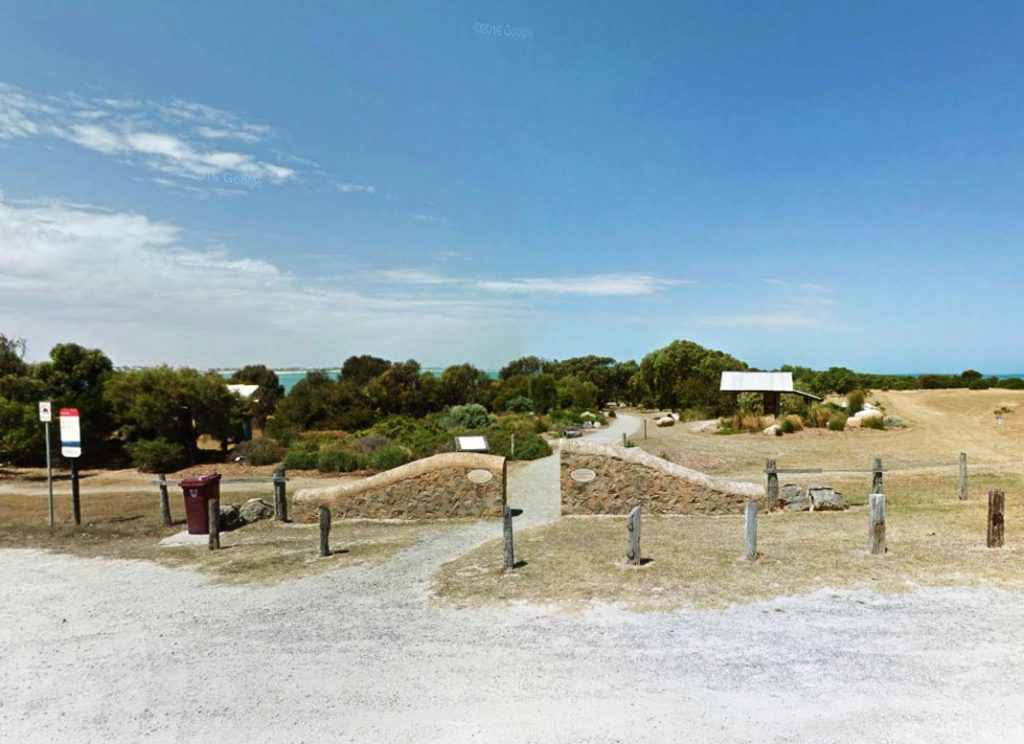 Basham's Beach Regional Park entrance from Port Elliot caravan park access road
