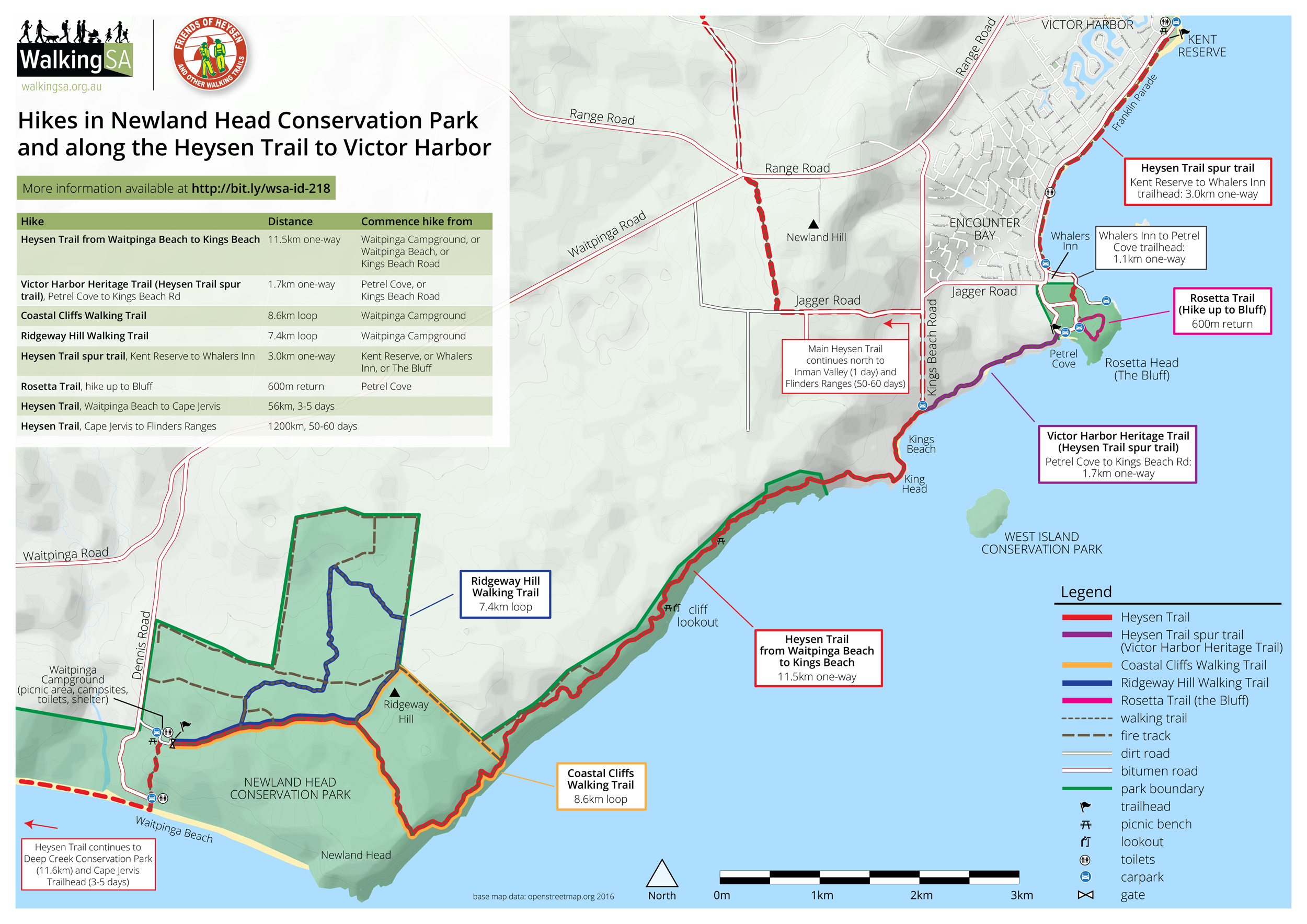 Map of hikes & walking trails in Newland Head Conservation Park and along the Heysen Trail to Victor Harbor