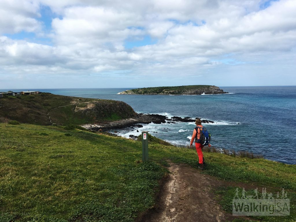 Hiking along the Heysen Trail to King Head, with West Island in the background